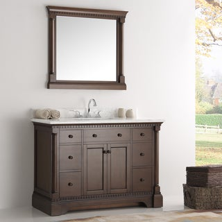 Fresca Kingston Antique Coffee 48-inch Traditional Bathroom Vanity w/ Mirror