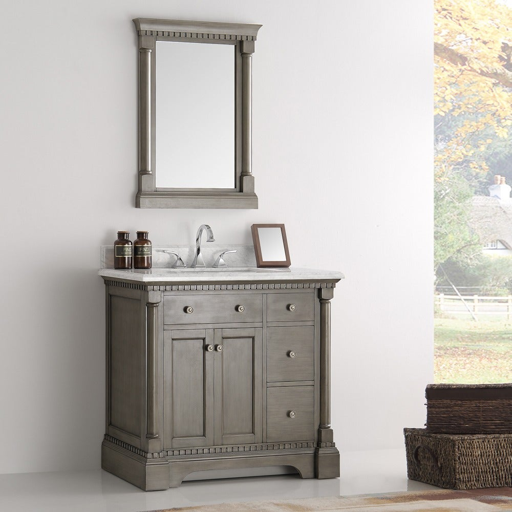 Fresca Kingston Antique Silver 36-inch Traditional Bathroom Vanity with Mirror (Kingston 36 Antique Silver Bathroom Vanity)