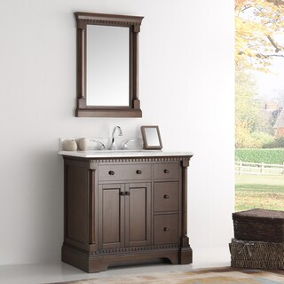 Fresca Kingston Antique Coffee 36-inch Traditional Bathroom Vanity with Mirror