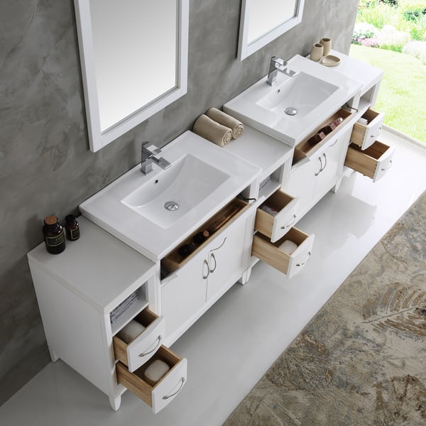 Fresca Cambridge White 96 Inch Double Sink Traditional Bathroom Vanity With Mirrors Overstock 13769658