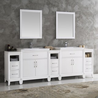 Fresca Cambridge White 96-inch Double-sink Traditional Bathroom Vanity with Mirrors