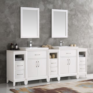 Fresca Cambridge White 84-inch Double Sink Traditional Bathroom Vanity With Mirrors