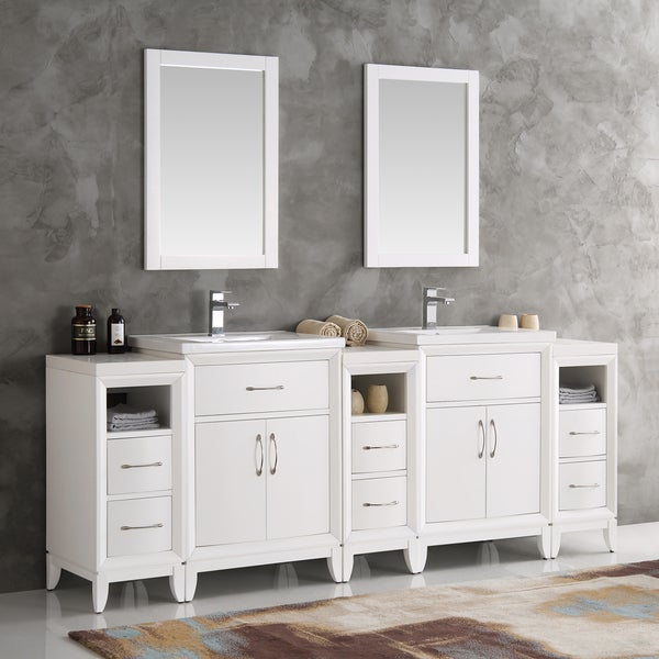 Fresca Cambridge White 84 Inch Double Sink Traditional Bathroom Vanity With M