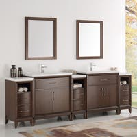 Fresca Cambridge Antique Coffee 96-inch Double-sink Traditional Bathroom Vanity with Mirrors