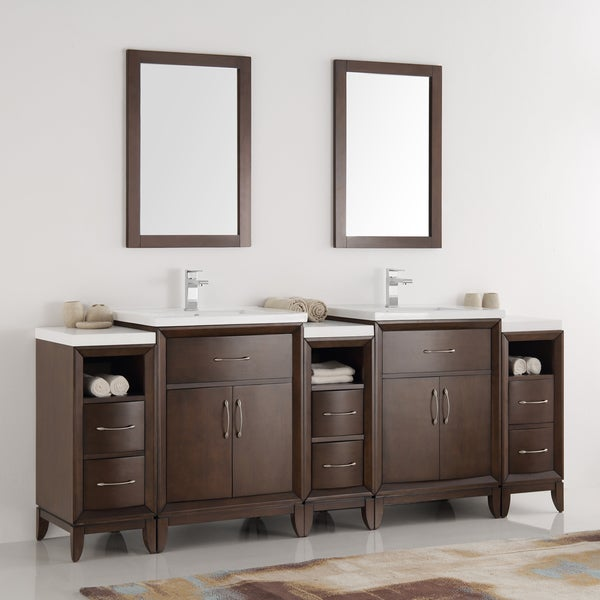 84 bathroom vanity double sink shop fresca cambridge antique coffee wood 84 inch 21884