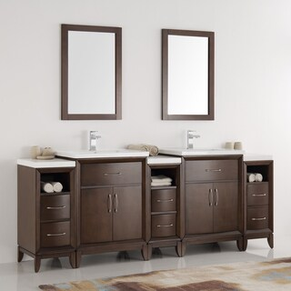 Fresca Cambridge Antique-coffee Wood 84-inch Double-sink Bathroom Vanity with Mirrors