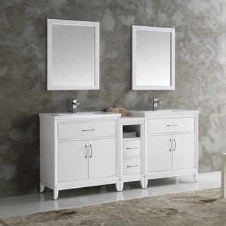 Fresca Cambridge White Wood 72-inch Double-sink Bathroom Vanity with Mirrors
