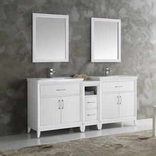 Fresca Cambridge White Wood 72-inch Double-sink Bathroom Vanity with Mirrors
