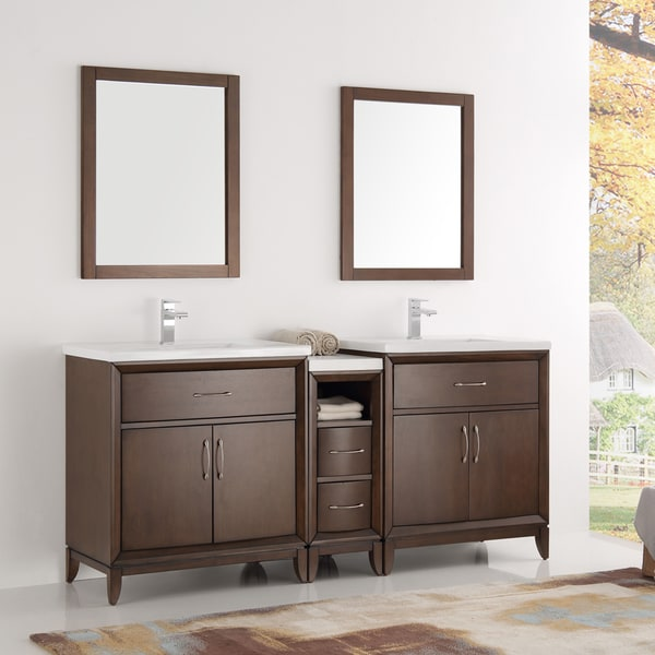 traditional bathroom vanities with double sink and circle mirror | Shop Fresca Cambridge Antique Coffee Wood 72-inch Double ...