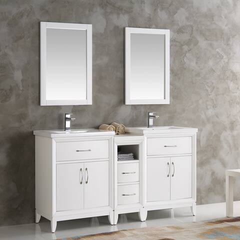 Fresca Cambridge White Wood and Veneer Double-sink Traditional 60-inch Bathroom Vanity With Mirrors