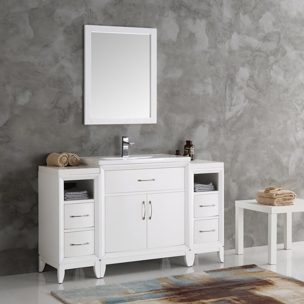 Fresca Cambridge 54 Inch White Bathroom Vanity With Mirror