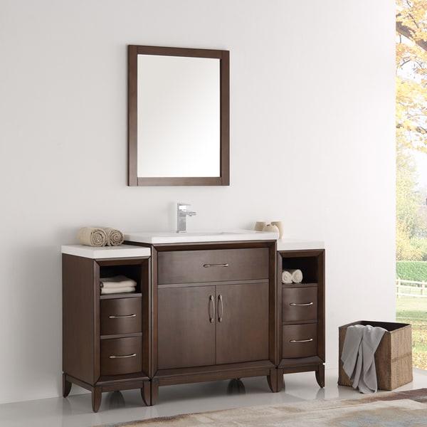 Fresca Cambridge Brown Wooden 54 Inch Antique Bathroom Vanity With Mirror