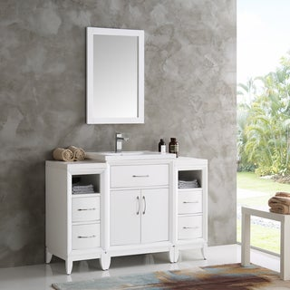 Fresca Cambridge White Wood 48-inch Traditional Bathroom Vanity With Mirror