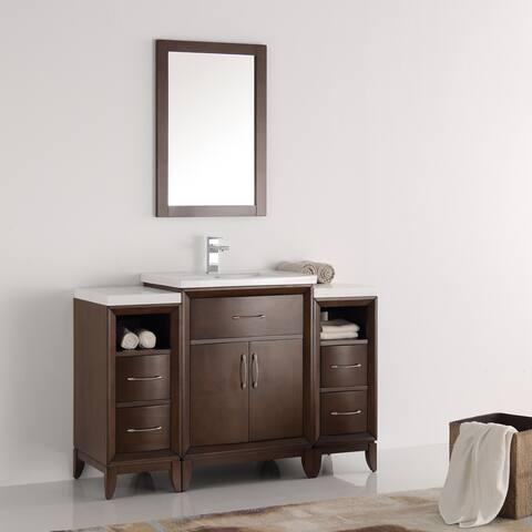 Fresca Cambridge 48-inch Antique Coffee Traditional Bathroom Vanity and Mirror