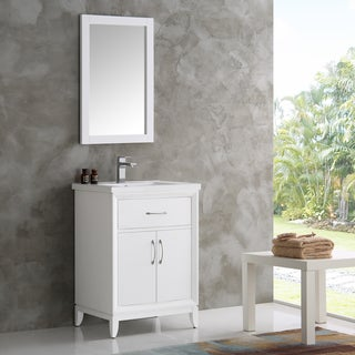 Fresca Cambridge White Wood 24-inch Traditional Bathroom Vanity with Mirror