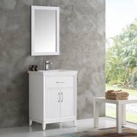 Fresca Cambridge White Wood 24-inch Traditional Bathroom Vanity with Mirror
