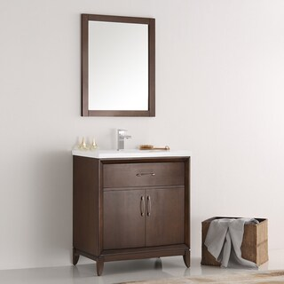 Fresca Cambridge Antique Coffee Wood 30-inch Traditional Bathroom Vanity with Mirror