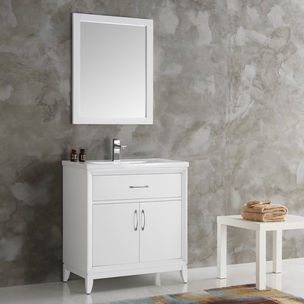 Fresca Cambridge White 30-inch Traditional Bathroom Vanity with Mirror