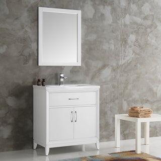 Fresca Cambridge White 30-inch Traditional Bathroom Vanity with Mirror