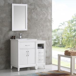 Fresca Cambridge White Wood 36-inch Single-sink Bathroom Vanity with Mirror