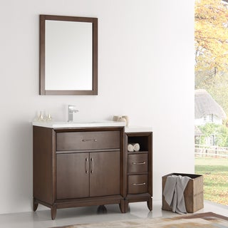 Fresca Cambridge Antique Coffee Wood 42-inch Traditional Bathroom Vanity With Mirror