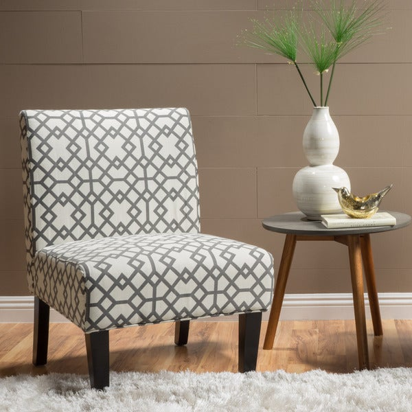 Shop Kassi Grey Geometric Fabric Accent Slipper Chair By
