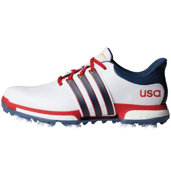 Adidas Tour360 Boost USA Golf Shoes  White/Mineral Blue/Scalet