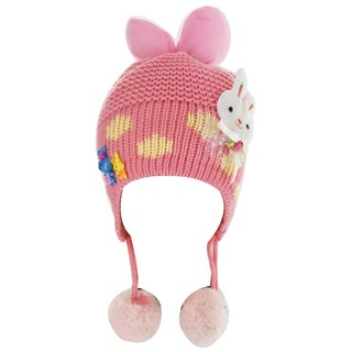 Kate Marie Kids' Pinky Rabbit Pink Cotton and Polyester Beanie