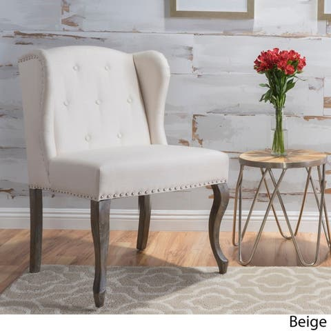 Niclas Wing Back Studded Fabric Accent Chair by Christopher Knight Home