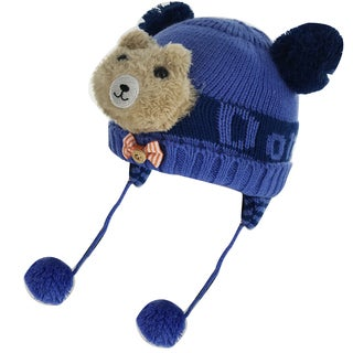 Kate Marie Kids' Little Bear Multicolor Cotton and Polyester Pom Pom Beanie