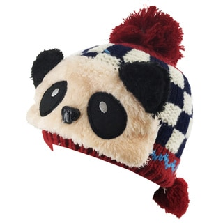 Kate Marie Kids Panda Beanie with Pom Pom