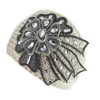 Kate Marie Women's Cotton and Polyester Knitted Lace Headband Beanie