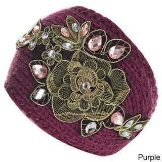 Kate Marie Floral Design Knitted Headband (Option: Purple)