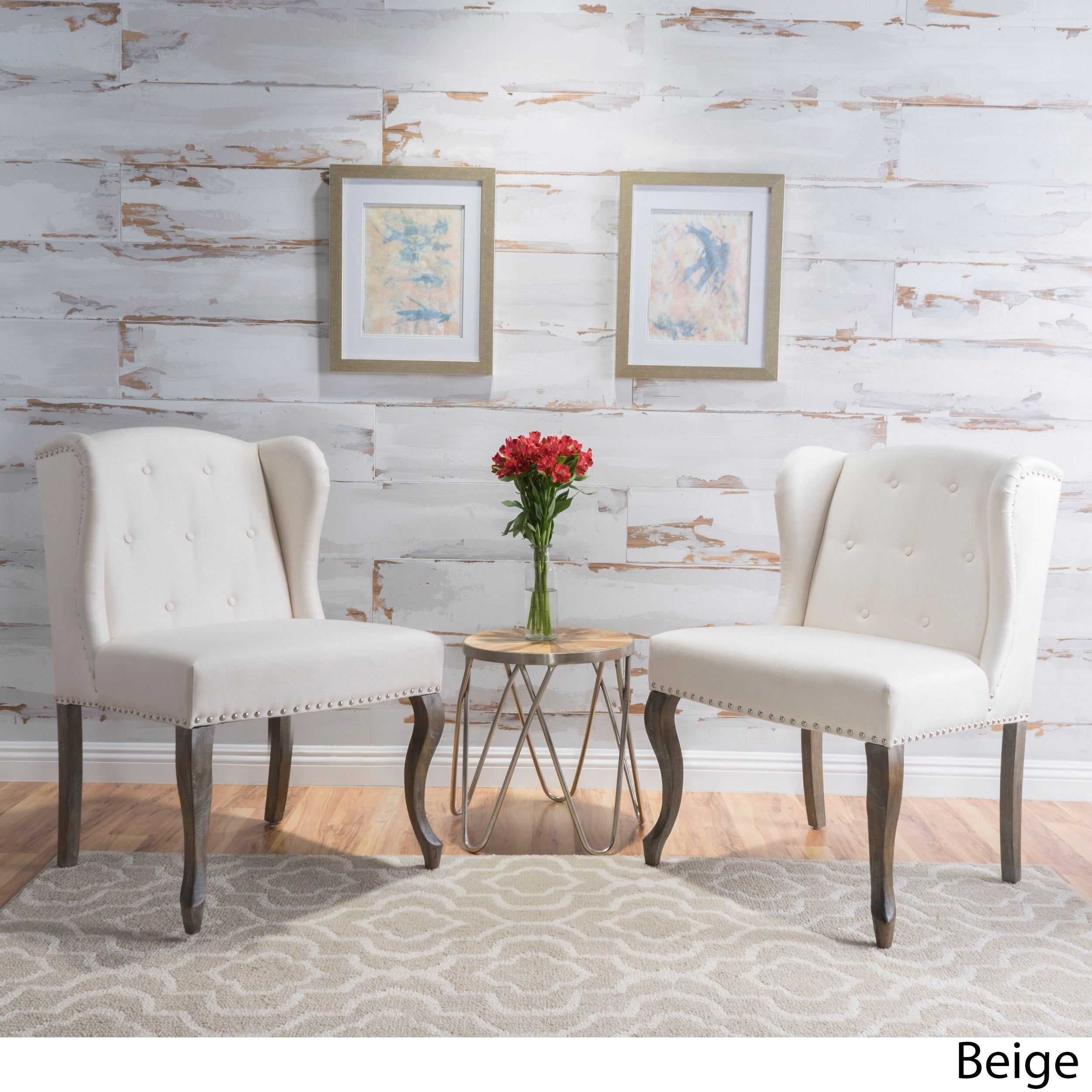 Niclas Wing Back Studded Fabric Accent Chairs Set Of 2 By Christopher Knight Home