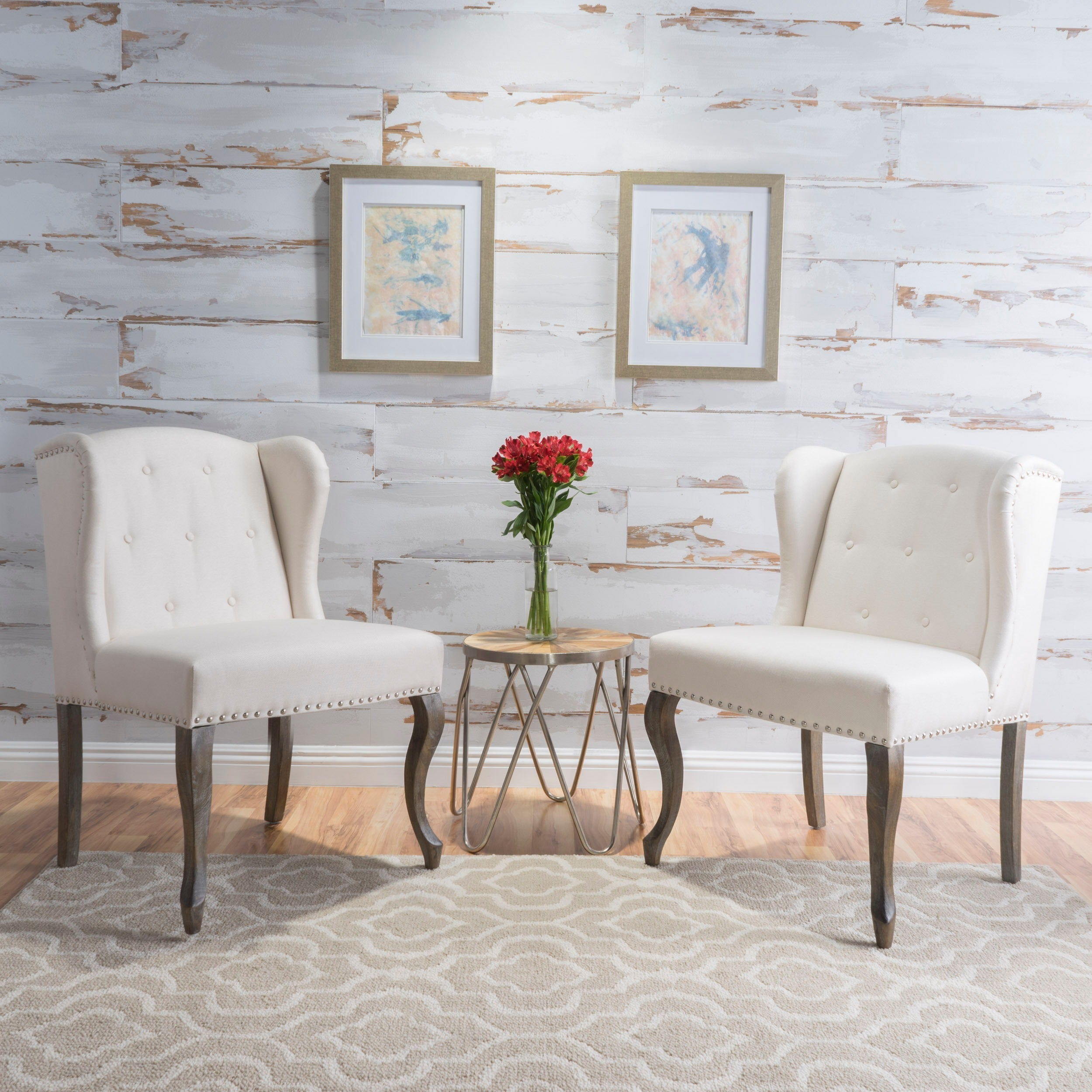 Niclas Wing Back Studded Fabric Accent Chairs Set Of 2 By Christopher Knight Home On Sale Overstock 13770390