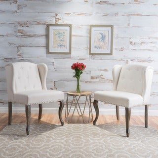 Niclas Wing Back Studded Fabric Accent Chairs (Set Of 2) By Christopher  Knight Home Part 86