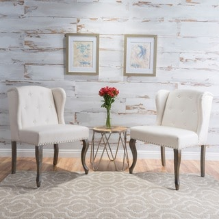 Niclas Wing Back Studded Fabric Accent Chairs (Set Of 2) By Christopher  Knight Home