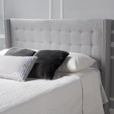 Kendrah Adjustable Full/ Queen Wing Back Studded Fabric Headboard by Christopher Knight Home