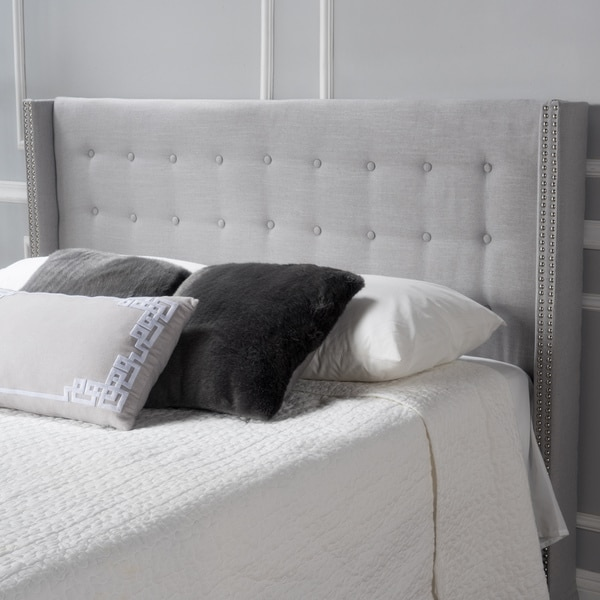 Kendrah Adjustable Full/ Queen Wing Back Studded Fabric Headboard by Christopher Knight Home. Opens flyout.