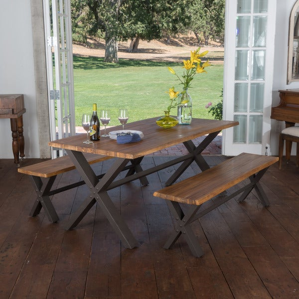 Kitchen Table Picnic Style: Shop Farmhouse 3-piece Acacia Wood Picnic Dining Set By
