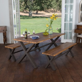 Farmhouse 3-piece Acacia Wood Picnic Dining Set by Christopher Knight Home