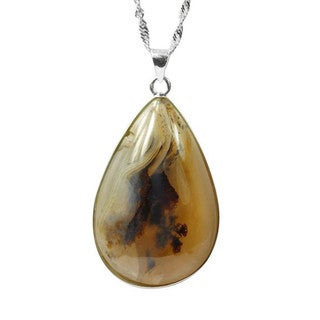 De Buman Sterling Silver Picture Agate Necklace 18 Inch Chain