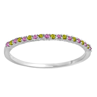 14k Gold 1/6ct TW Round Pink Sapphire and Peridot Wedding Band Stackable Ring
