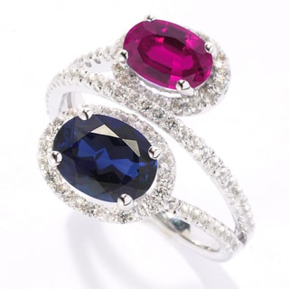 Sterling Silver 3.91ct Lab Created Blue Sapphire, Created Ruby and White Sapphire Bypass Ring