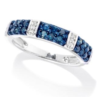 Sterling Silver 0.42ctw Blue & White Diamond Station Band Ring