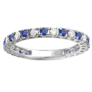 10k White Gold 1ct TW Round Blue Sapphire and White Diamond Eternity Band (H-I, I1-I2)