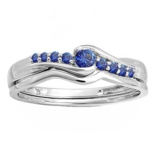 10k White Gold 1/4ct TW Round Blue Sapphire Bridal Set