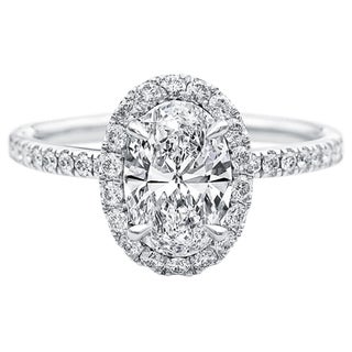 Transcendent Brilliance 14k White Gold Oval Halo Diamond Micropave Engagement Ring (3/4 ct. TDW) (G, VS2)