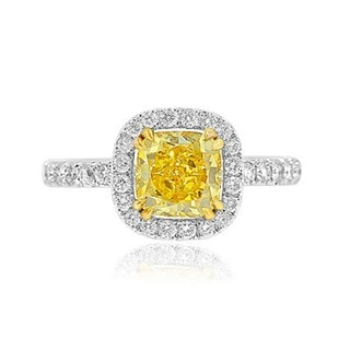 18k White and Yellow Gold 2 7/8ct TDW Yellow and White Diamond GIA Certified Engagement Halo Ring