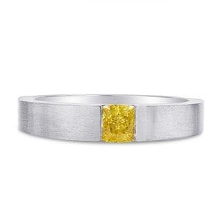 Platinum 5/8ct TDW Yellow Diamond Band Ring